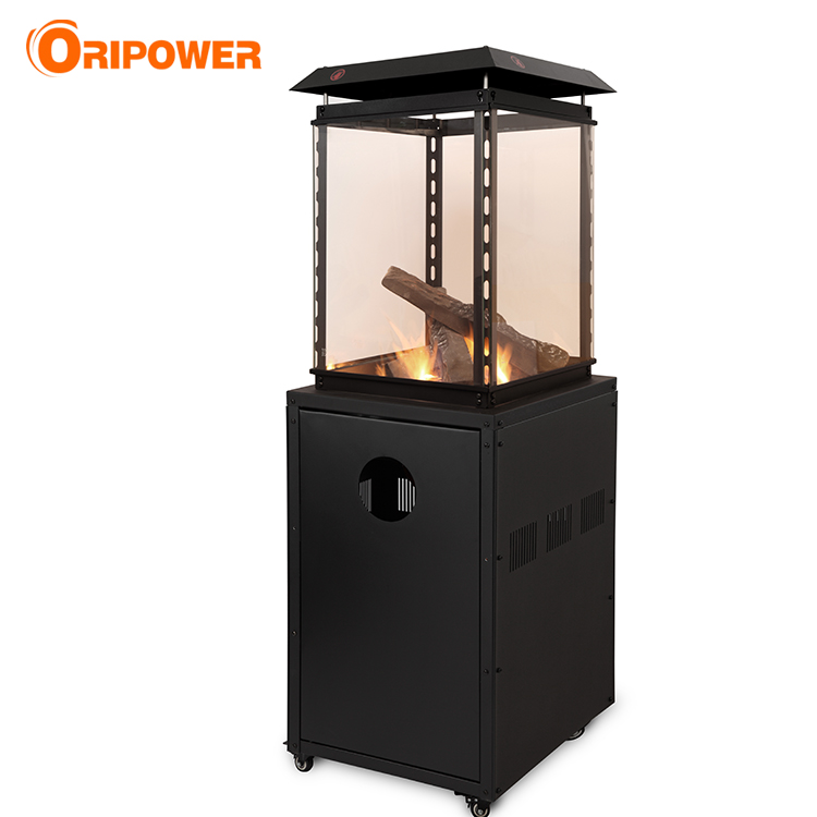 P1201A Glass flame patio heater with lava rocks and logs