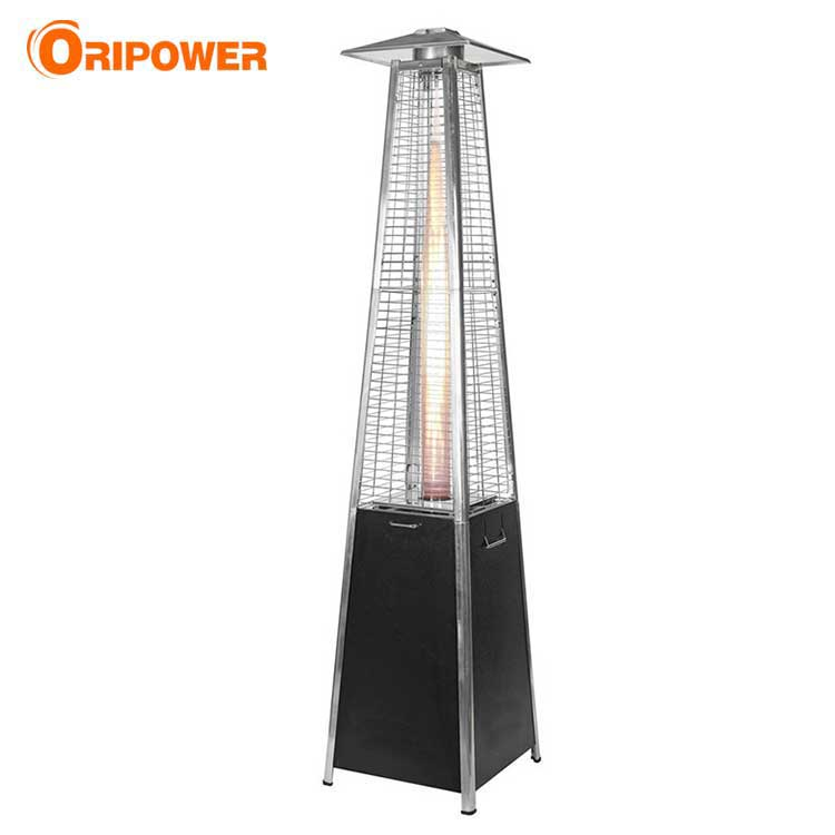 H1502A real flame pyramid patio heater in black steel